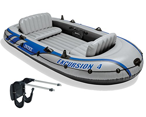 Intex Excursion 4 Inflatable River/Lake Boat Raft Set & Motor Mount Kit - Excursion Boat