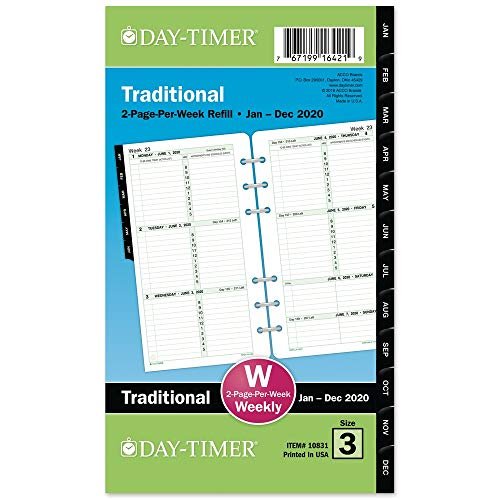 Day-Timer 2020 Weekly Planner Refill, Two Pages Per Week, 3-3/4