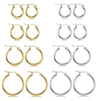 LOYALLOOK Stainless Steel Rounded Small Hoop Earrings Set for Women Nickel Free 10MM-20MM