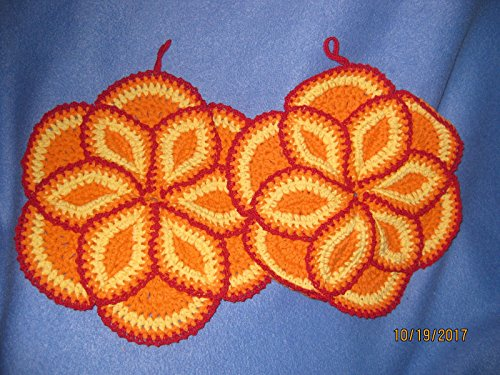 2 Hand Crocheted Pot Holders/Hot Pads Orange and Yellow with Victory Red Lace (Crocheted Pot Holder)