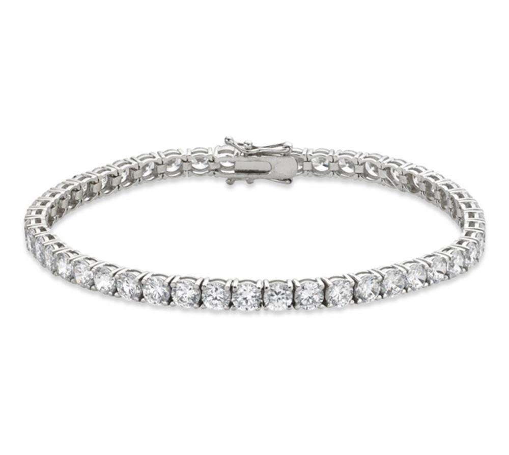 Venetia Realistic Top Grade 10 Carats 4mm Hearts Arrows Cut Simulated Diamond Tennis Bracelet Platinum Plated 4 Prongs Round Realistic 6.5 inch br4mm6