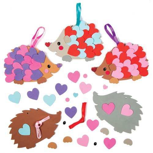 Heart Hedgehog Hanging Foam Decoration Kits for Children to Make and Decorate - Creative Kids Valentines Day Craft Set (Pack of 5)