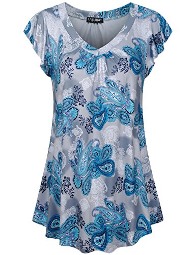 LNIMIKIY Summer Tops for Women, Women's Crewneck Ruched Short Sleeve Summer Flowy Tunic Shirt X-Large Blue Boho Ombre Paisley (Soft Luster Eye Color Stick)