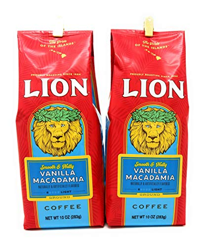 Hawaii Lion Coffee Vanilla Macadamia Ground Two 10 Ounce Bags in Crush Proof Corrugated Mailer Smooth & Nutty ()