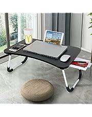 حامل كمبيوتر محمول ZENGAOOU ، مكتب كمبيوتر مع درج تخزين ، جهاز لوحي مع حامل أكواب لمشاهدة الفيلم والكتابة والعمل وتناول الإفطار على الأريكة - الأرضية - الأريكة