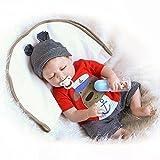 Sleeping Reborn Baby Doll Boy Look Real Completo cuerpo de silicona traje rojo 22 pulgadas
