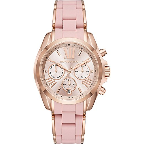 Michael Kors Watches Womens Bradshaw Rose Gold-Tone and Pale Pink Silicone Watch