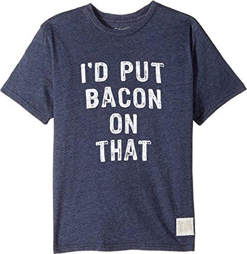 The Original Retro Brand Kids  Boy's I'd Put Bacon on That Short Sleeve Tri-Blend Tee (Big Kids) Streaky Navy T-Shirt by The Original Retro Brand Kids