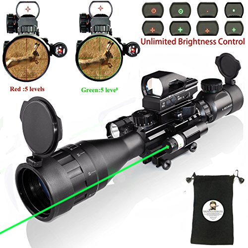 (Rifle Scope Combo C4-16x50EG with Green Laser / 4 Holographic Red&Green Dot Sight)