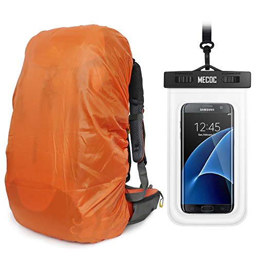 Orange Sport Ultralight Backpack Rain Cover with Pu Stored Bag and Cellphone Waterproof Case for Camping, Hiking, Cycling for iPhone 6S/6 etc.