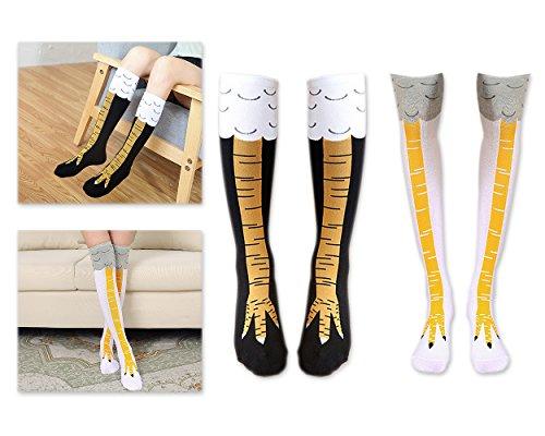 Ace Select Women Chicken Leg Socks Knee High Socks Cotton Novelty Cosplay Socks - 2 Pairs