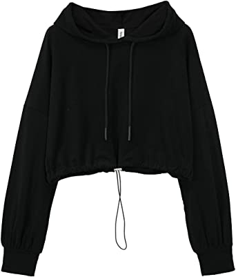 Woman Unique Black Hearts Long Sleeve Funny Drawstring Sweater