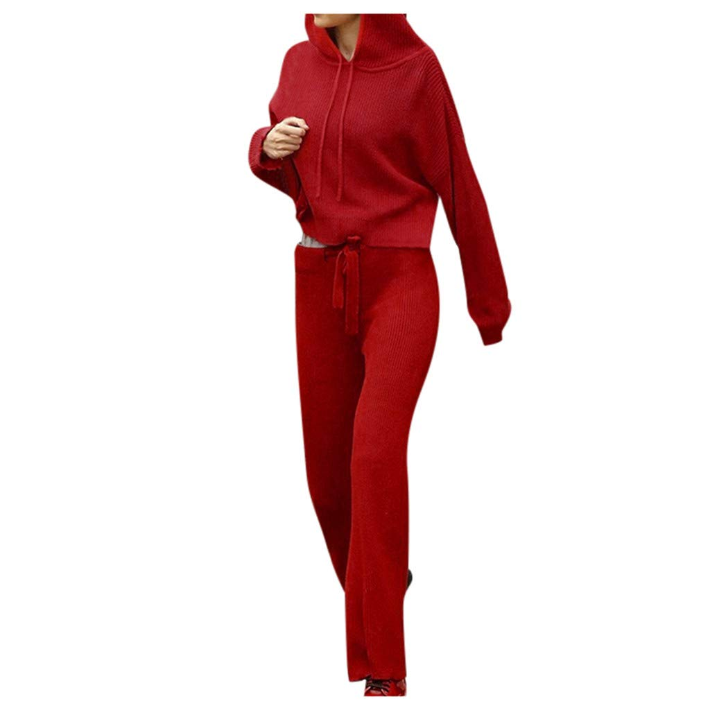 Fashionhe Long Sleeve Shirt Hooded Sweater V Neck Top Button Sweatshirt Bodycon Plants Ladies Suits Coat(Red.M) by Fashionhe
