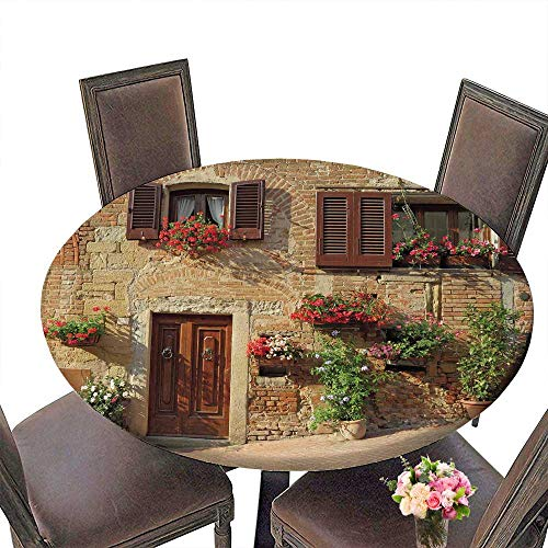 (PINAFORE Round Tablecloths Tuscan Picturesque Lane with Mediterranean Architecture with Flowers in an Italian HillTown Dinner, Parties 50