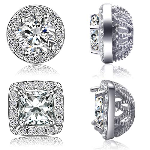 Quinlivan Duo 2 Pairs Premium Halo Stud Earrings, Round Princess Cut Cubic Zirconia Earrings Sets Lightweight for Women, Girls (Two Round Earring)