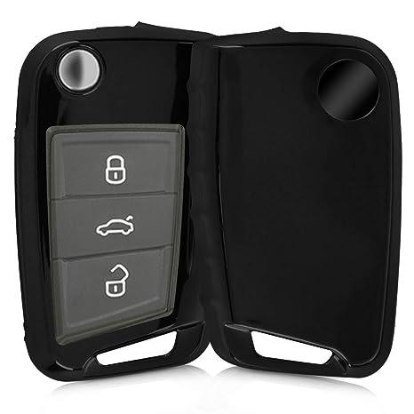 kwmobile Funda para Llave de 3 Botones para Coche VW Golf 7 MK7 - Carcasa [Suave] de [TPU] para Llaves - Cover de Mando y Control de Auto en [Negro ...