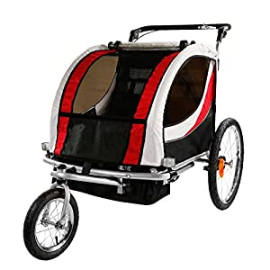 Clevr Red Collapsible 2 Seats 3 in 1 Double Bicycle Trailer Baby Bike Jogger/Stroller Jogging Running Kids Cart Bike | Suspension & Pivot Front Wheel