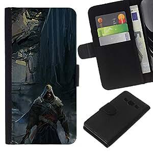 // PHONE CASE GIFT // Moda Estuche Funda de Cuero Billetera Tarjeta de crédito dinero bolsa Cubierta de proteccion Caso Samsung Galaxy A3 / Dark Assassin /