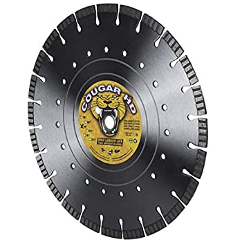 Image of Home Improvements Cougar Heavy-Duty 14-inch (14') Dry/Wet Concrete Diamond Blade, Supreme Quality with Laser-Welded 12MM Tall Segments