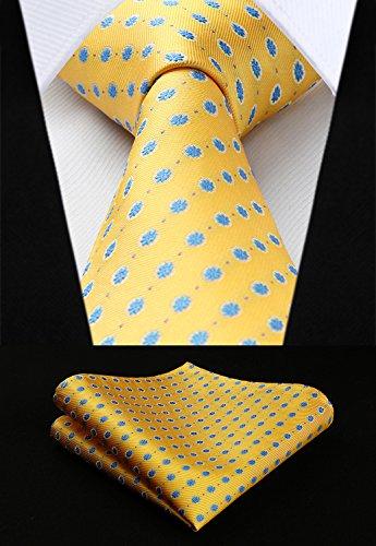 (HISDERN Extra Long Floral Dots Tie Handkerchief Men's Necktie & Pocket Square Set (Yellow & Blue))