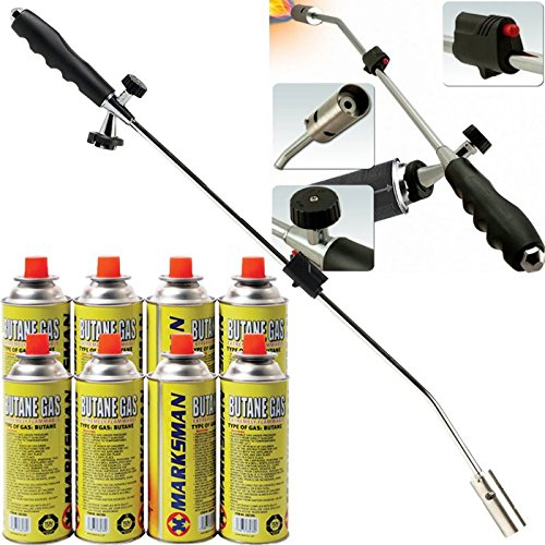 BARGAINS-GALORE Burner Killer Butane Gas BLOWTORCH Garden Outdoor Moss Fungus (Weed Wand + 4 CANISTERS) MARKSMAN Weed+4