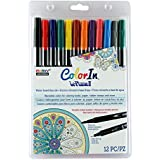 Uchida 12 Piece Colorin Le Plume II Coloring Book Pens, Primary