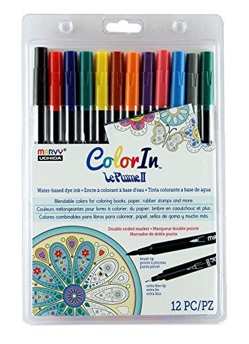 Double Tip Marker America (Uchida 1122-12I 12 Piece Colorin Le Plume II Coloring Book Pens, Primary)