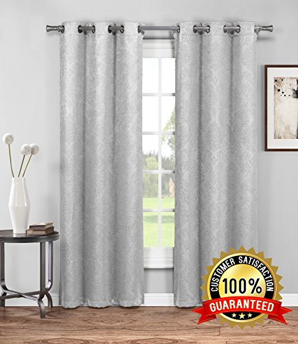 Evelyn - Embossed Thermal Weaved Blackout Curtain With 8 Grommets - Room Darkening & Noise Reduction Fabric - Blocks up to 97% of Sunlight - Premium Draperies (1 panel, 54