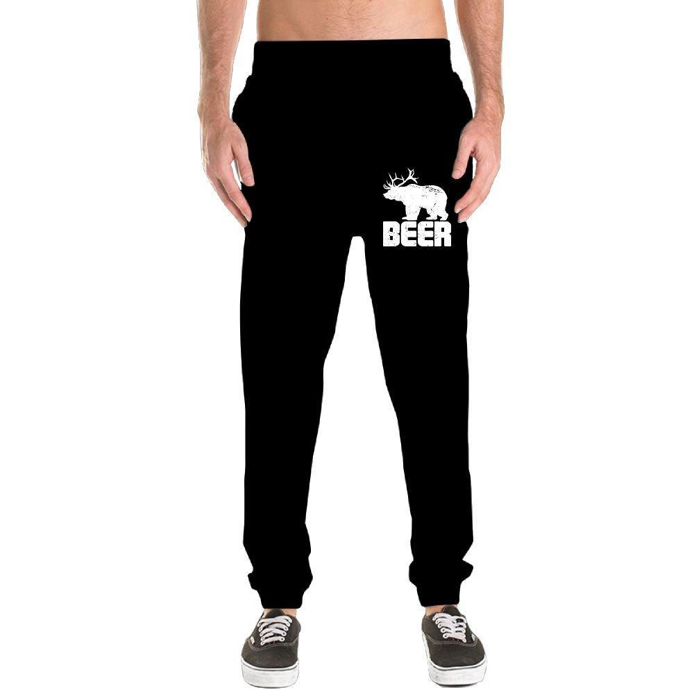 Beer Bear Deer Men's Jogger Sweatpants Drawstring Elastic Waist Outdoor Running Trousers Pants With Pockets