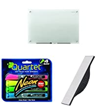 Quartet Infinity Frosted Glass Dry Erase Board, 8 X 4-Feet 1 Marker Included with Neon Dry Erase Paint Markers, 4-Pack, Assorted Colors & Magnetic Whiteboard Eraser