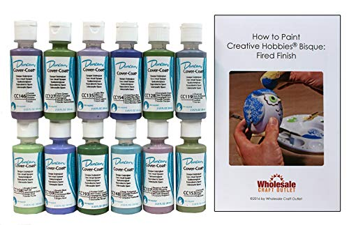 Duncan CCKIT-6 Cover-Coat Opaque Underglaze Cool Colors Paint Set, 12 Best Selling Colors in 2 Ounce Bottles with Free How To Paint Ceramics Book