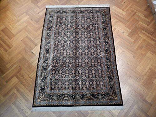 Qum Rug Living Room Handmade Rug 6′ X 9′ Silk Black