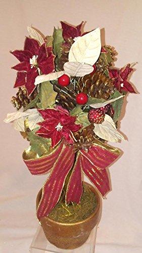Poinsettia Topiary - Poinsettia Topiary, Holiday Silk Topiary, Holiday Topiary, Christmas Topiary, Holiday Flower Arrangement