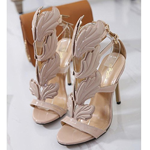 Xmansky Damen Mode Pumps Blatt Flamme Hoher Absatz Schuhe Gucken Zehe High Heels Fesselriemen Sandalen Khaki