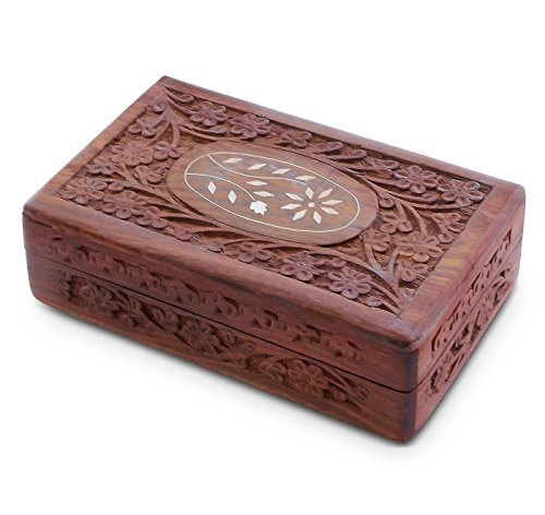 """Handcrafted Wooden Jewelry/Keepsake Box with Lid - Small Wood Storage Chest Vintage Look (8 x 5"""")"""