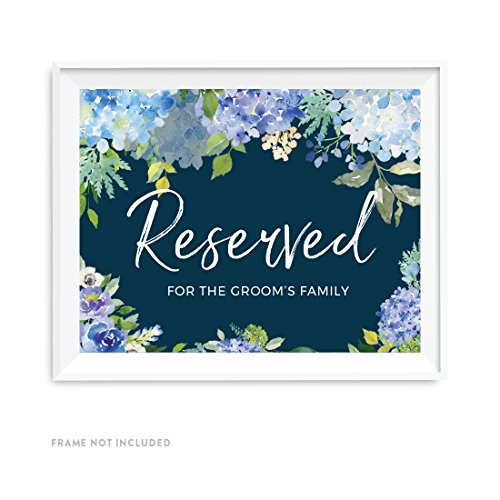 - Andaz Press Navy Blue Hydrangea Floral Garden Party Wedding Collection, Party Signs, Reserved for the Groom's Family, 8.5x11-inch, 1-Pack