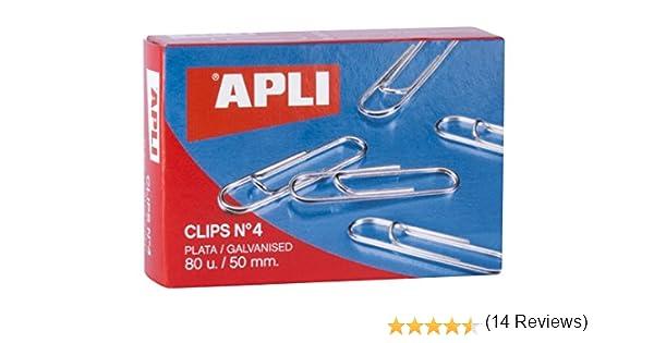 Apli 11716 Caja Clips, Plata, 50 Mm: Amazon.es: Oficina y papelería