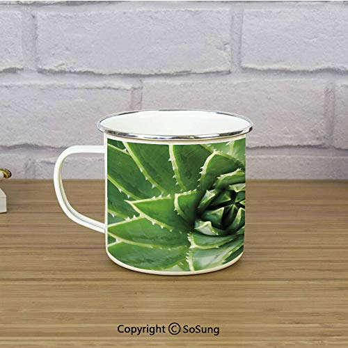 Succulent Travel Enamel Mug,Realistic Close Up Cactus Plants Artwork Green Leaves Exotic Mexican Botanical Yard Decorative,11 oz Practical Cup for Kitchen, Campfire, Home, TravelGreen