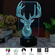 3D Illusion Animal Milu LED Desk Table Night Light Lamp 7 Color Touch Lamp Kiddie Kids Children Family Holiday Gift Home Office Childrenroom Theme Decoration by HUI YUAN