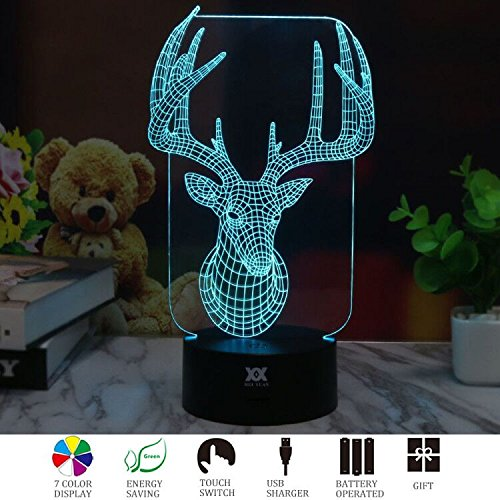 3D Illusion Animal Milu LED Desk Table Night Light Lamp 7 Color Touch Lamp Kiddie Kids Children Family Holiday Gift Home Office Childrenroom Theme Decoration by HUI YUAN by Huiyuan