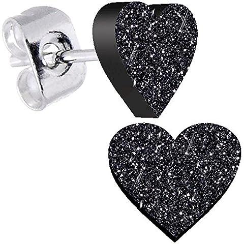 Body Candy Ebony Black Glitter Heart Stud Earrings