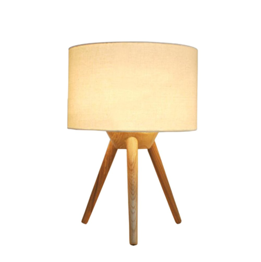 GL&G Nordic creative wooden tripod bedroom bedside lamp study room living room solid wood home decoration LED protection eyes reading table lamp,A,2838cm