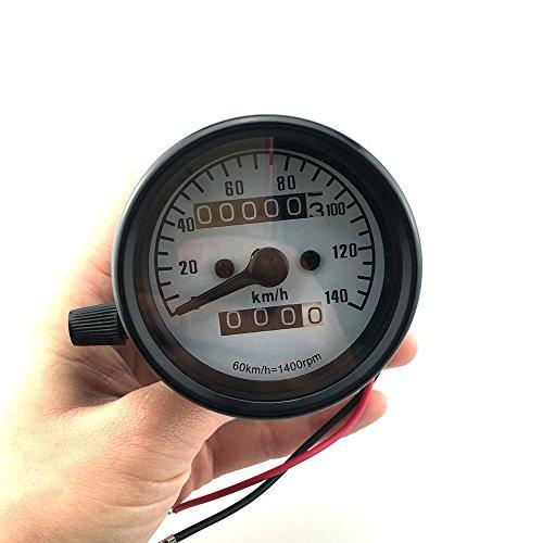 Iztoss Motorcycle Universal Dual Odometer Night Light Speedometer Gauge black shell for KPH