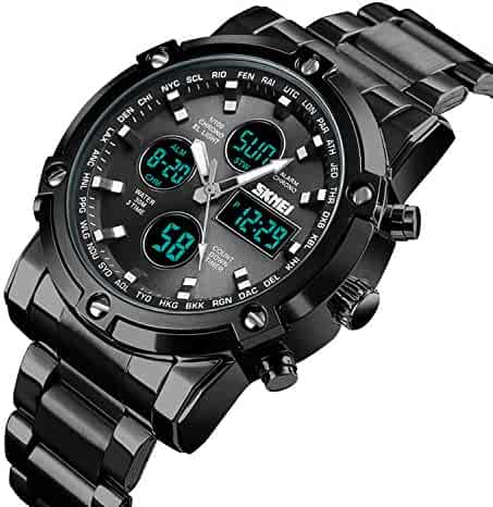 ae420c3b2dfc Men s Watch Digital Sports Watch Dress Stainless Steel Large Dial Analog  Quartz Watch Waterproof Black(