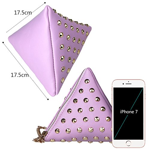 xhorizon TM SR Women PU Leather Rivet Studded Triangle Purse Wristlet Clutch Wallet Handbag by xhorizon (Image #3)