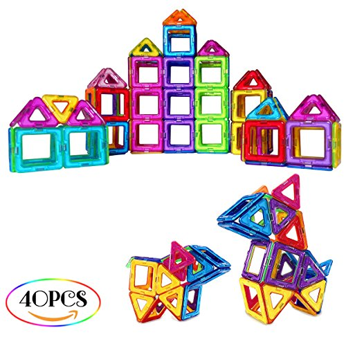 SUPRBIRD Magnetic Building Blocks Set, 40 PCS Magnetic Tiles Building Stack Educational Toys Kids Magnet Construction Toys for Girls Boys Toddler (Colorful) by SUPRBIRD