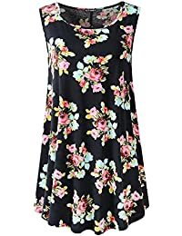 Women's Sleeveless Swing Tunic Summer Floral Flare Tank Top
