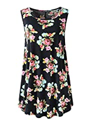 Women's Sleeveless Basic Summer Tunic Tank Top with Flare Hem Products Feature: Brand Name:Veranee Material:Solid:95% Rayon 5% Spandex,Floral:95% Polyester 5% Spandex Size:US SIZE S/M/L/XL/XXL/XXXL Type:Sleeveless Tunic Top Item Weight:0.2Kg...