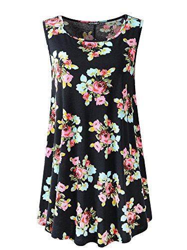 Veranee Women's Sleeveless Swing Tunic Summer Floral Flare Tank Top Small 6-1