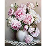 Oil Painting By Numbers,Diy Handpainted Flowers Pictures Canvas Painting Living Room Wall Art Home Decor Gift - 16x20 Inch without Frame